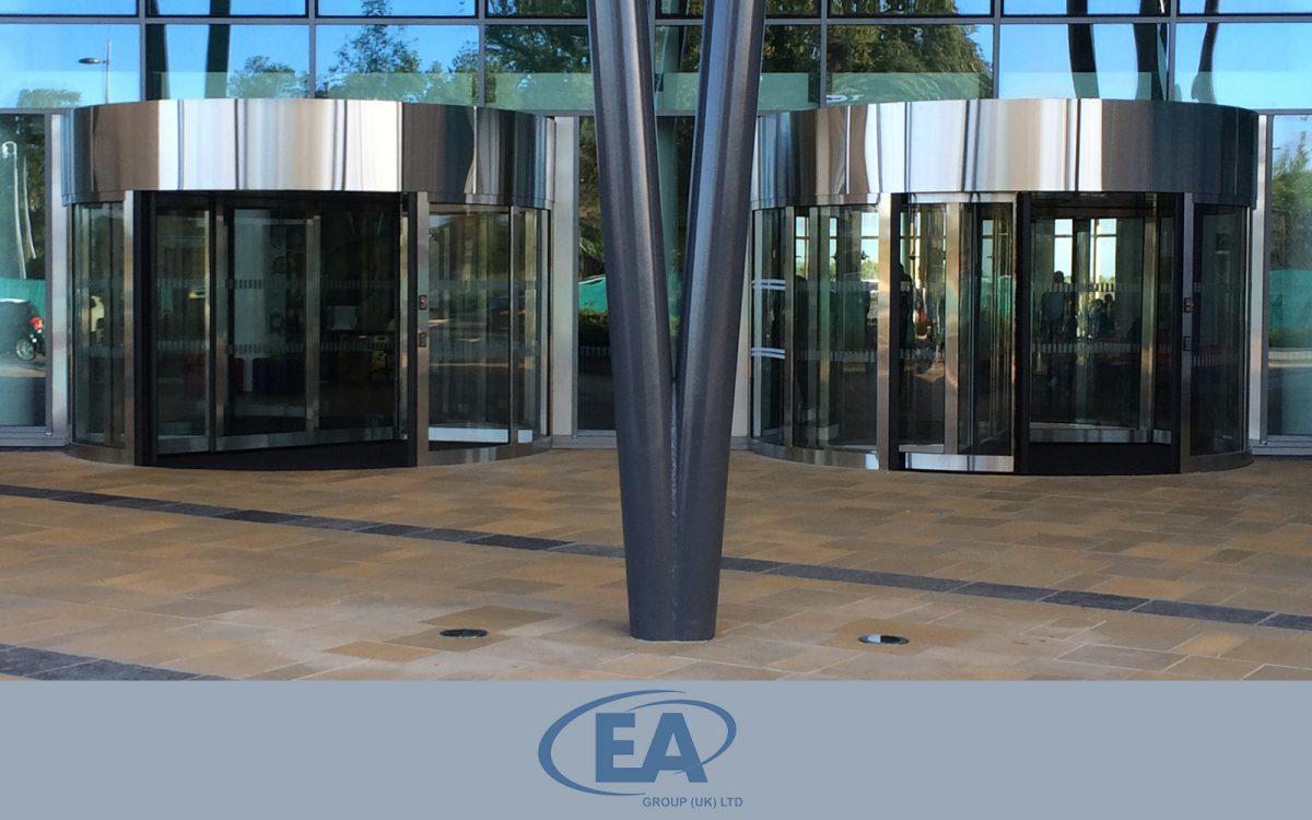 High Capacity Revolving Door with centre Sliding Doors
