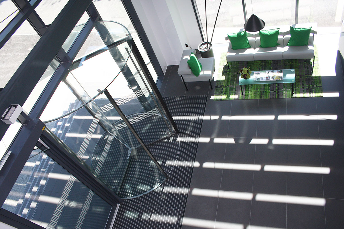 EA All Glass Revolving Door from above